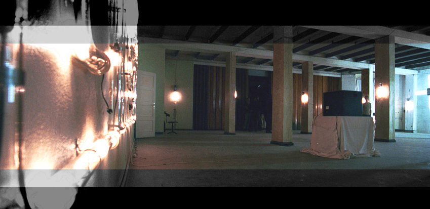 Halle des Wasserfall´s mit Glasröhreninstallation