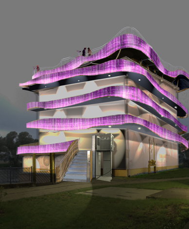 Der Turm mit LED-Beleuchtung