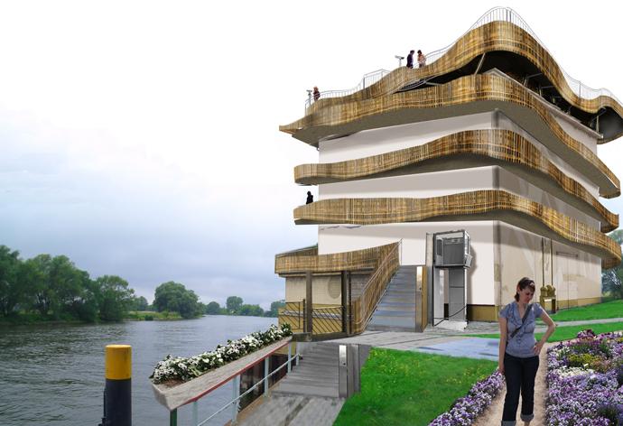 Die Aussichtsplattform zur Buga 2015 in Premnitz ragt in die Havel.